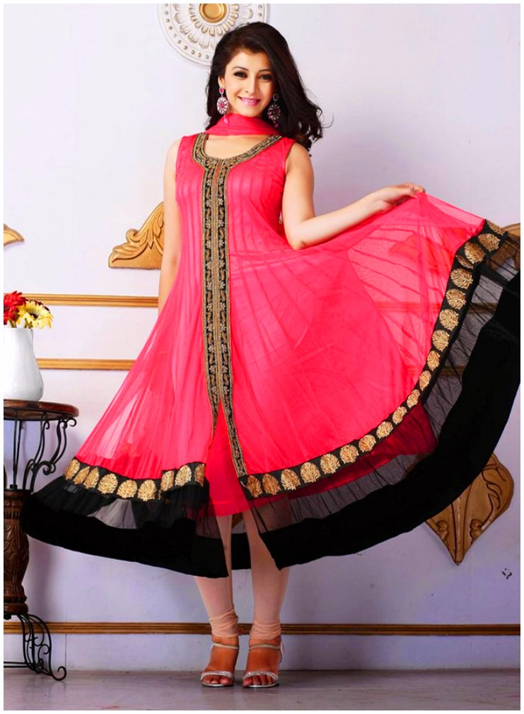 Red-Front-Open-Pakistani-Frock-Style-Dress