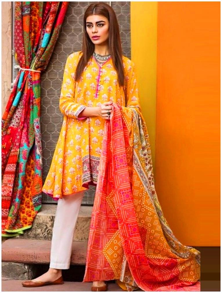 Yellow kurta white shalwar pakistani frock designs