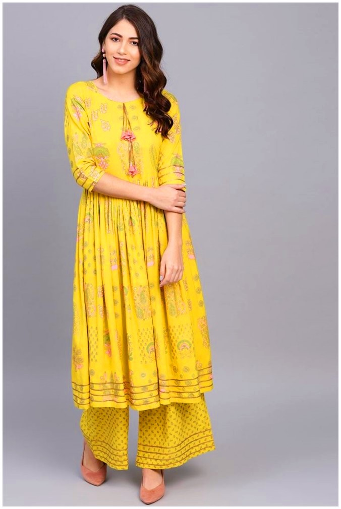 Yellow latest frock style