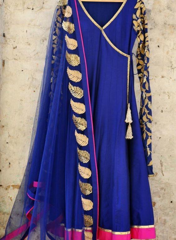 Blue Angrakha Dresses Designs