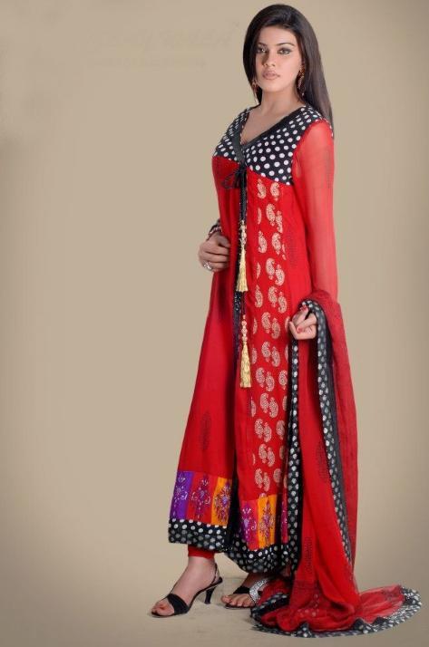 Red Stylish Angrakha Style
