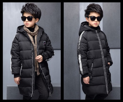 Winter Kids Lettering Hooded Padded Coat