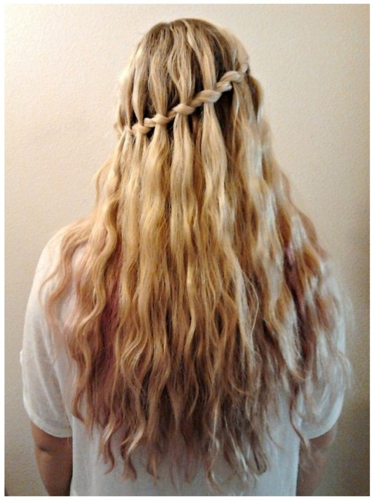 Fully Decorated & Curly The Waterfall Braid