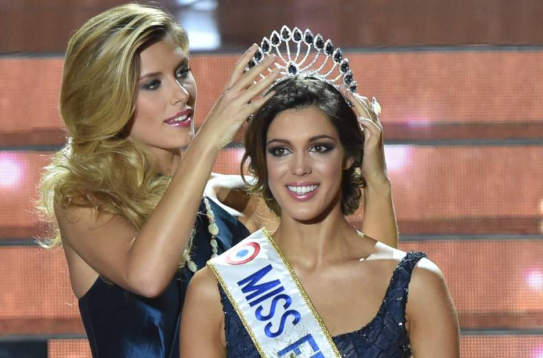 Iris Mittenaere (Miss France 2016) wearing crown
