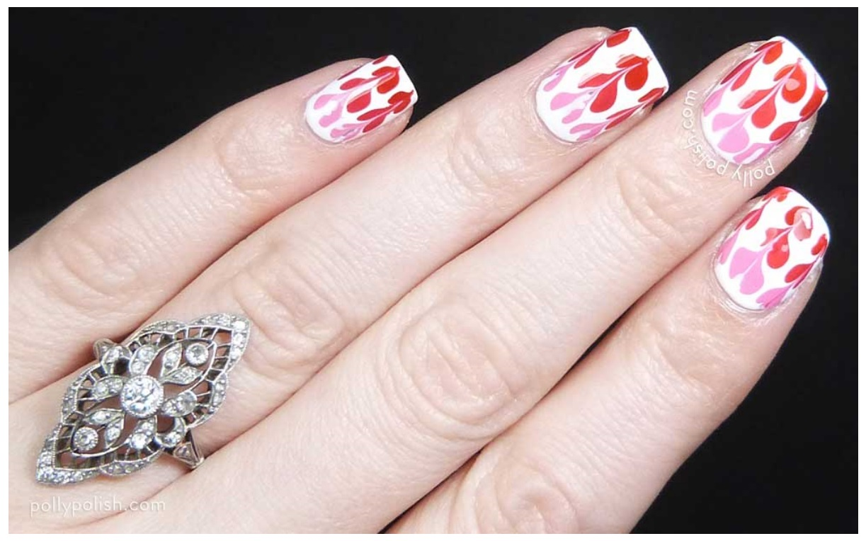 Valentine's Hearts Red & White Drag Marble Nails 2017