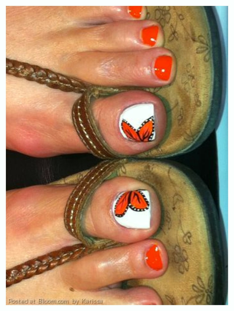 Orange Free Butterfly Toe Nail Designs