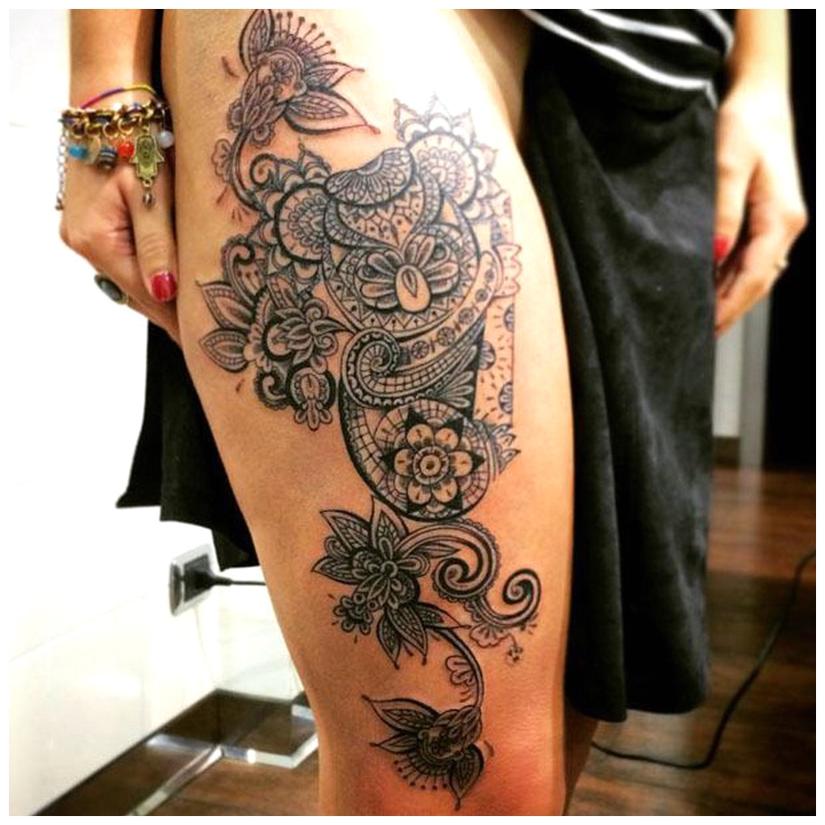 Amazing floral Thigh Tattoos iamges download