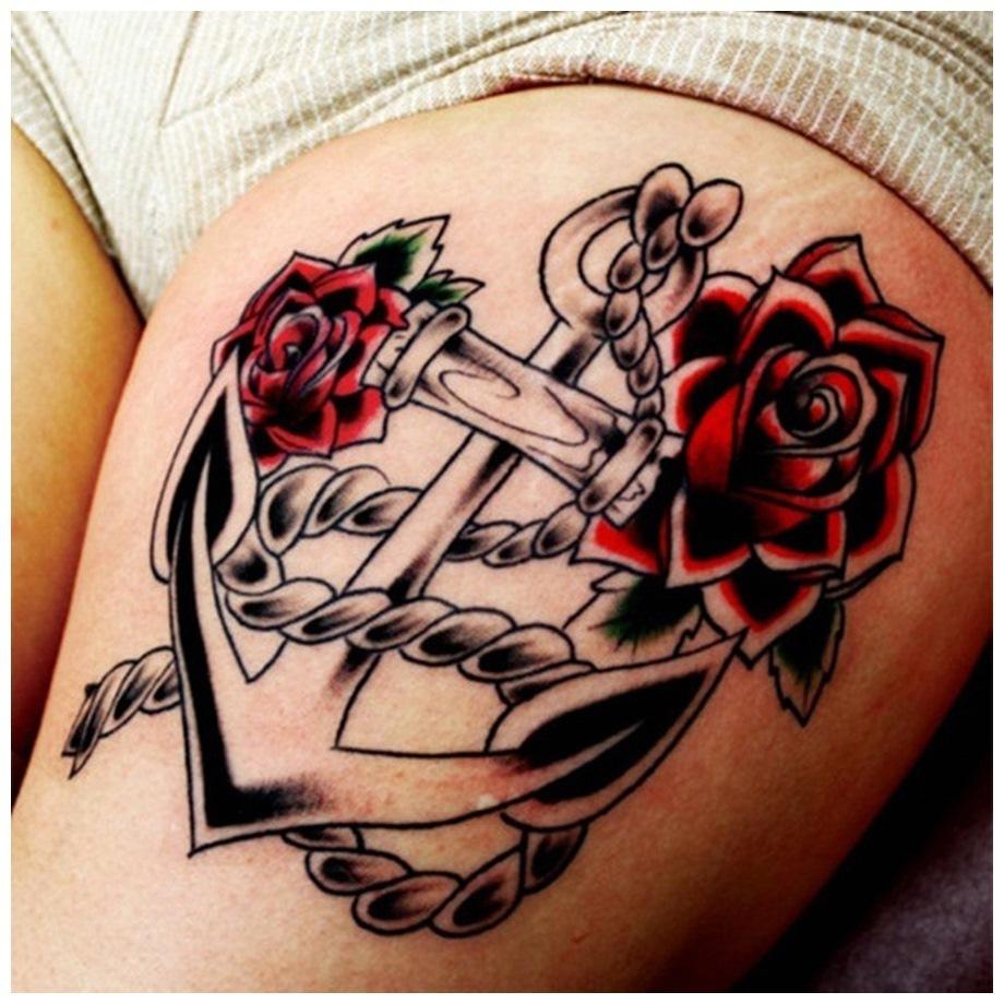 Anchor Thigh Tattoos for teens