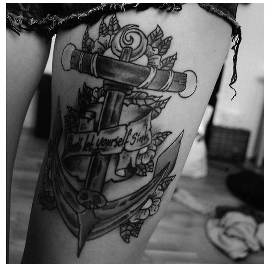 B&G ship anchor Thigh Tattoos