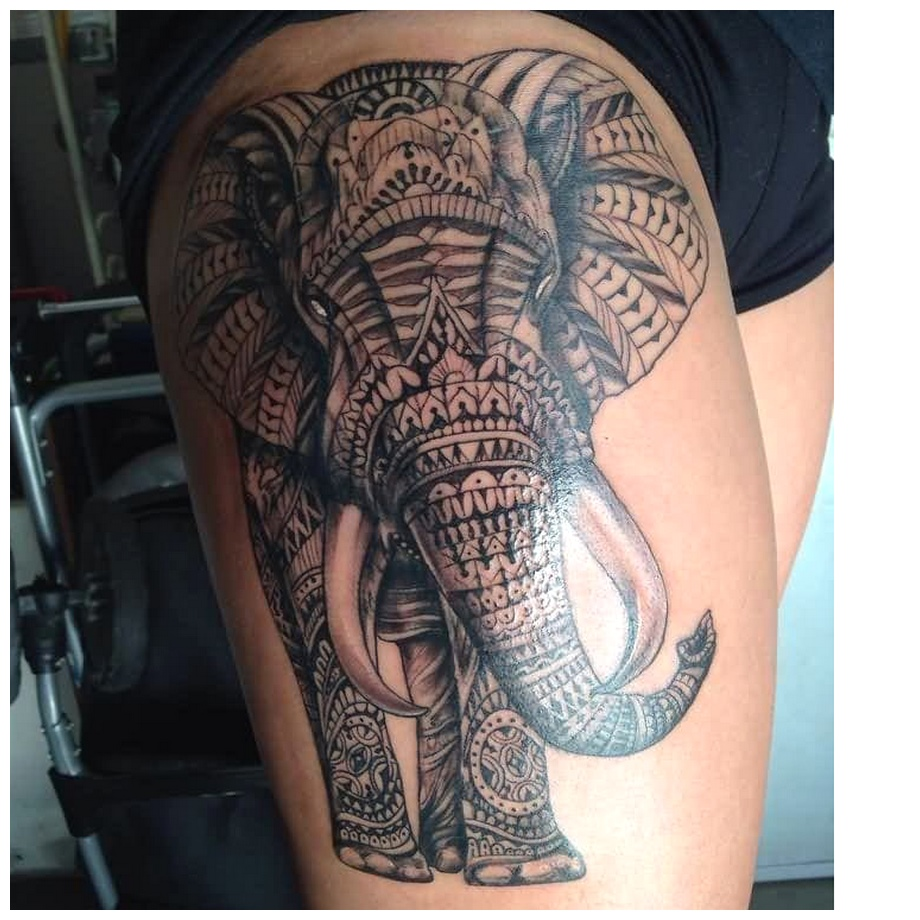 Big elephant Thigh Tattoos PHotos