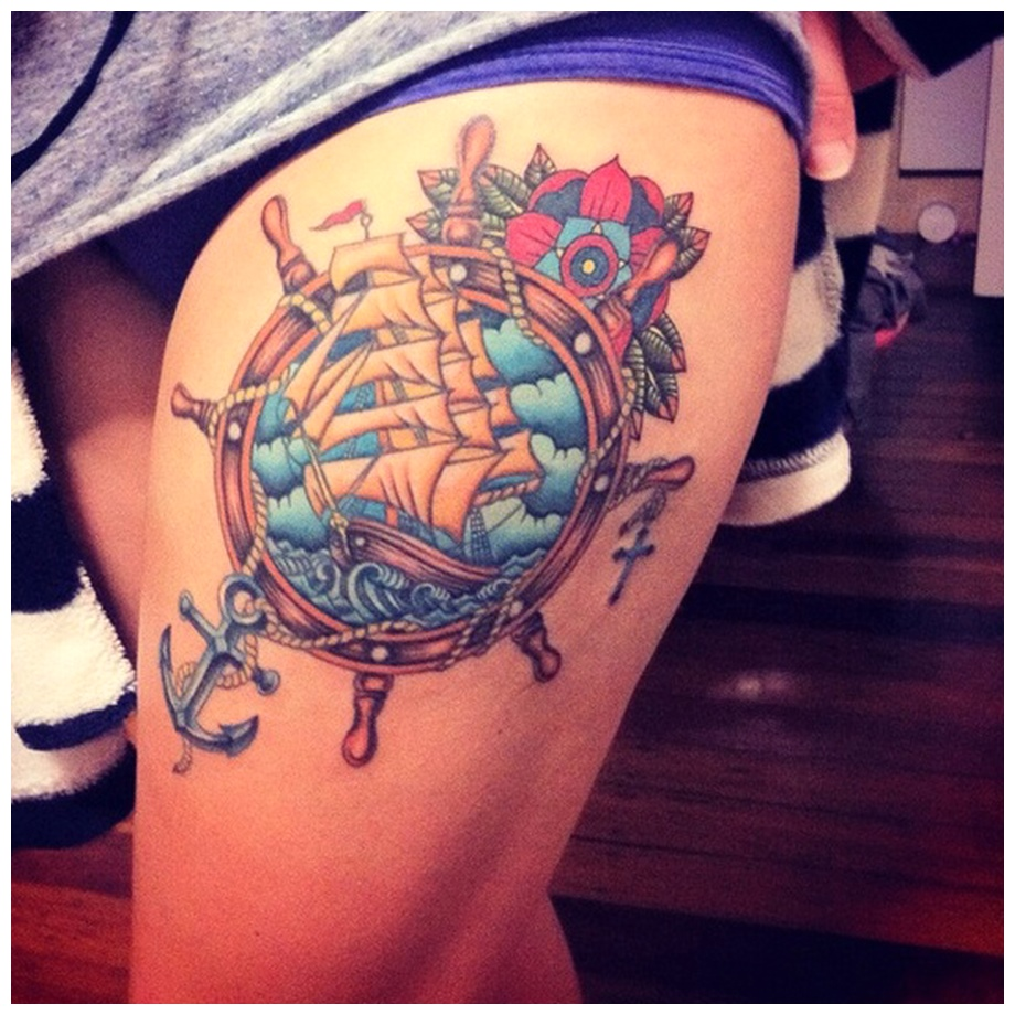 Colorful See Thigh Tattoos