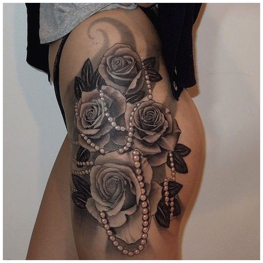 Costly Moti & FLowers Thigh Tattoos for Married girls
