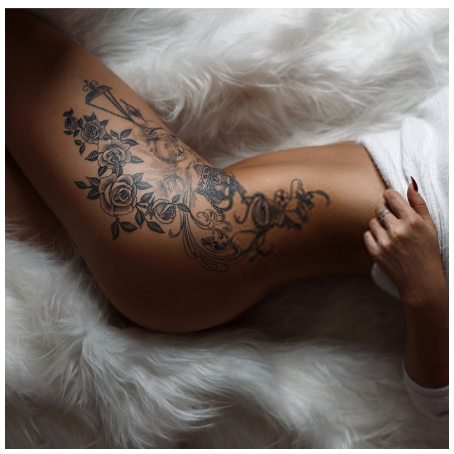 Hot Floral Thigh Tattoos
