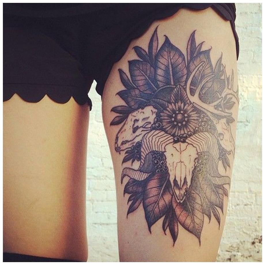 Sheep head in trees Thigh Tattoos
