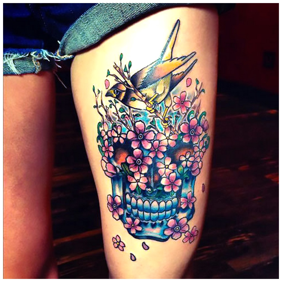 Sparrow Flowers Thigh Tattoos image