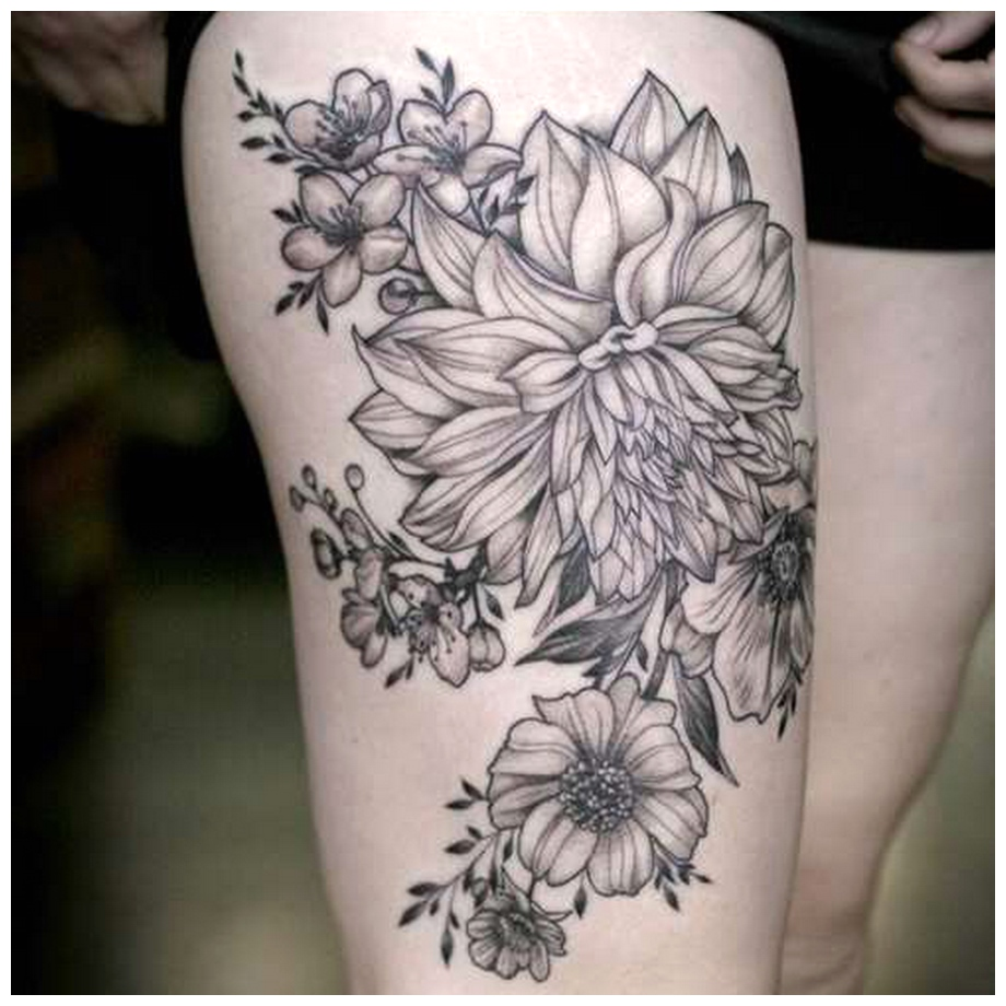 Thigh Tattoos with beautiful Flower photos