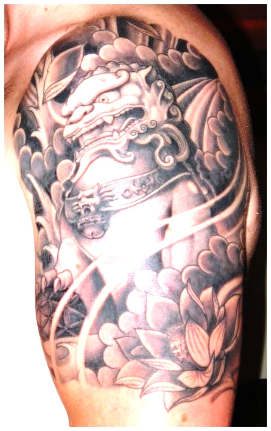 Foo dog tattoo sleeve